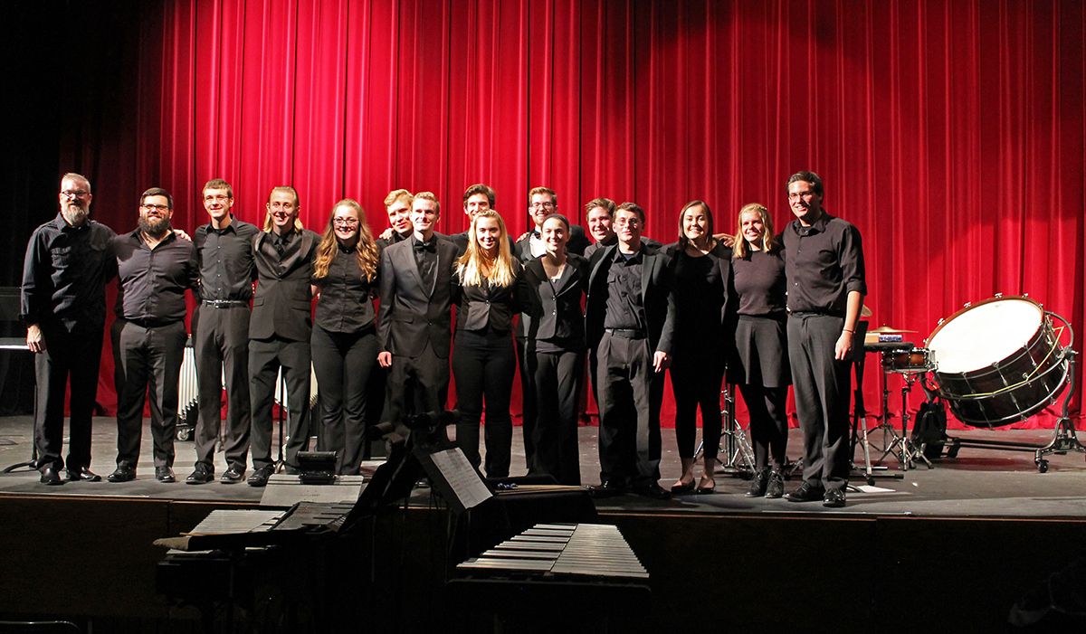 A group of 17 UW-Eau Claire students played five songs during the concert under the direction of Conductor Jeffery Crowell.