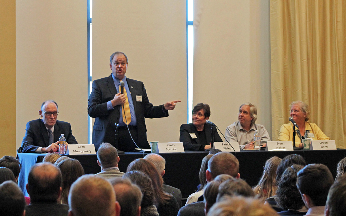 A panel of shared governance leaders led the open forum in the Dakota Room last Thursday. Pictured from left to right is Keith Montgomery, regional executive office and dean; UW-Eau Claire Chancellor James C. Schmidt; Patricia Kleine, provost and vice chancellor of academic affairs at UW-Eau Claire; Evan Weiher, chair of UW-Eau Claire university senate; and Lauren Wentz, an associate biology professor at UW-Barron County.