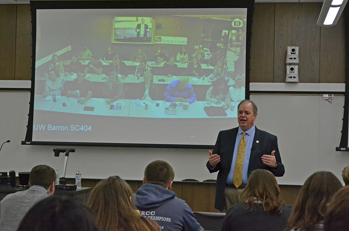 Chancellor James C. Schmidt addressed an audience at UW-Eau Claire and a live-streamed audience at UW-Barron County on Wednesday regarding the UW System reconstruction.
