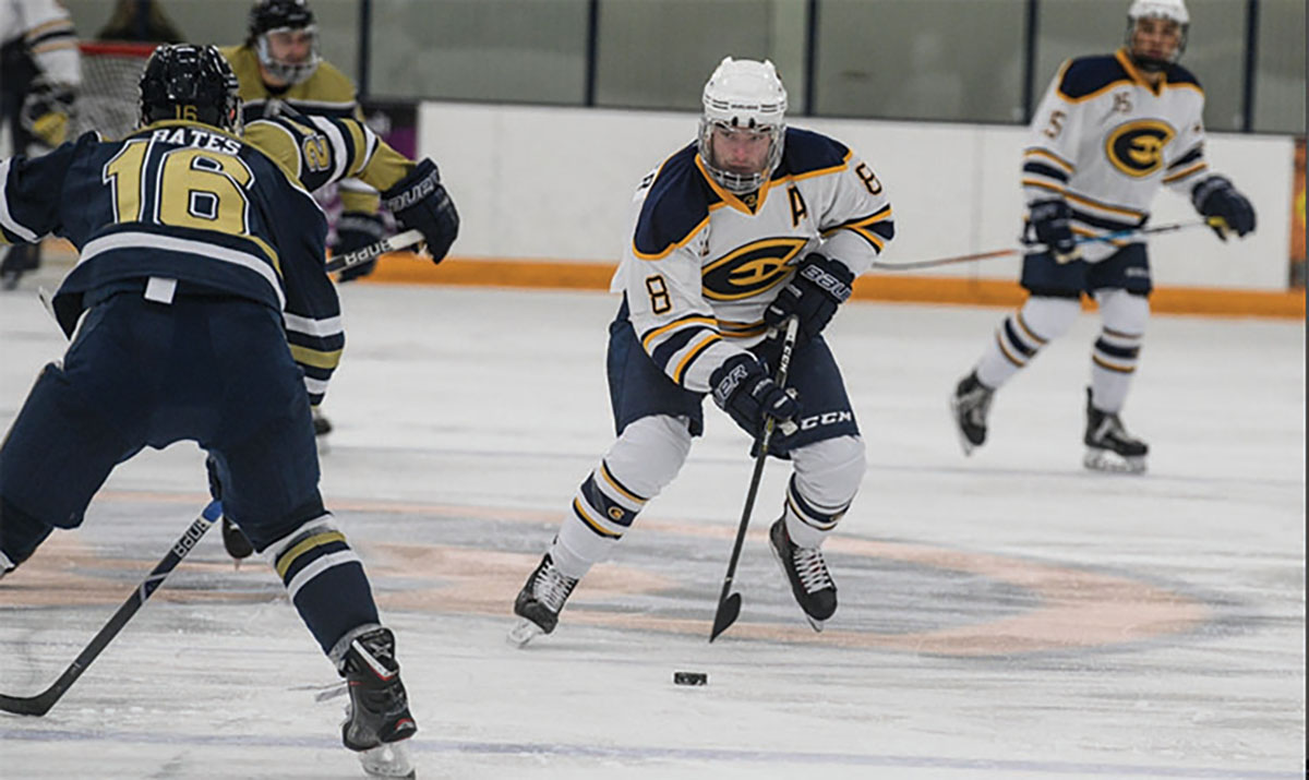 Colton Wolter(pictured) and Jacob Wolter, both senior forwards for Blugold hockey, are twin brothers hailing from Alaska.