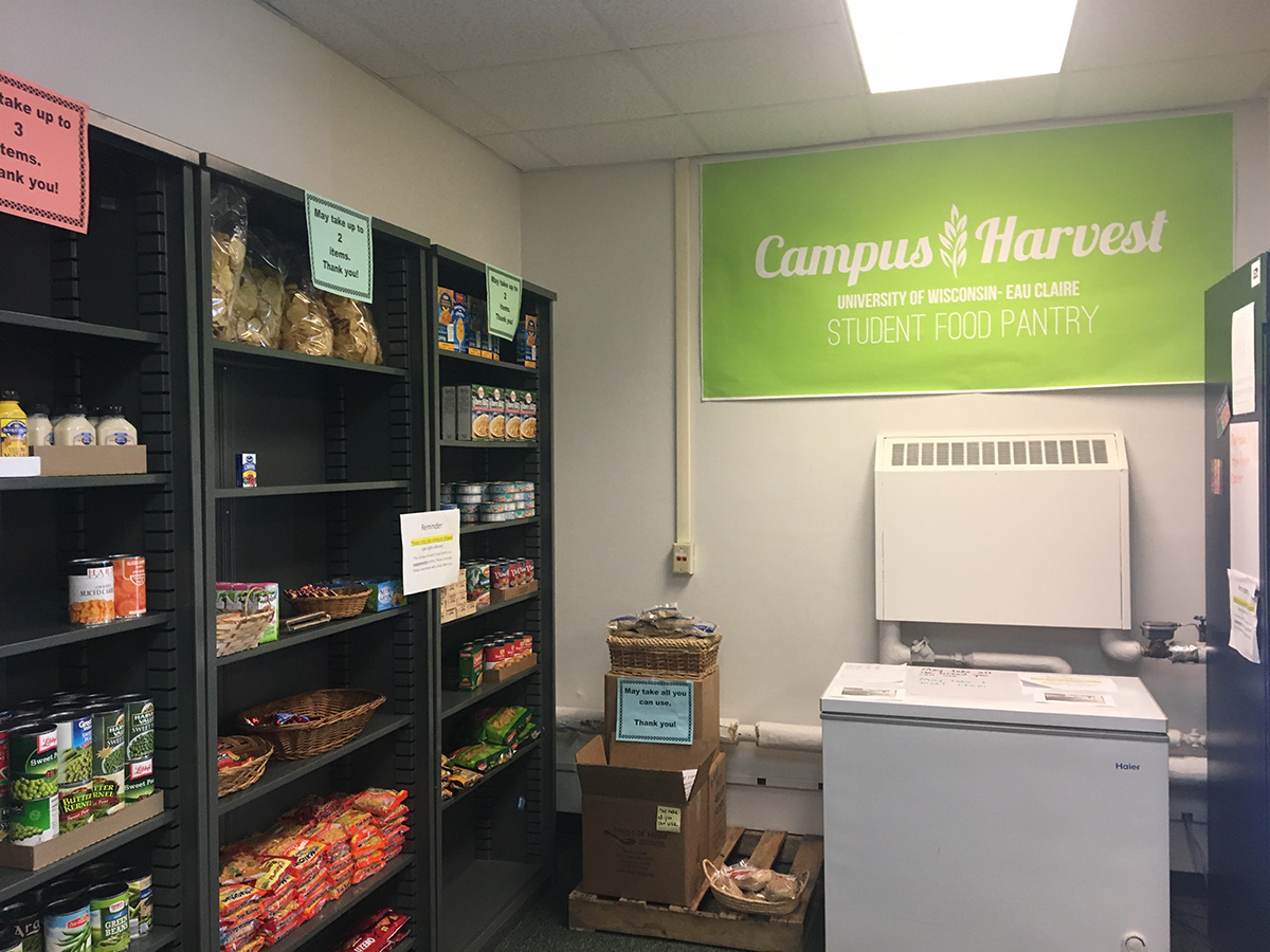 The Campus Harvest Food Pantry is located in Room 4 of Schofield Hall.