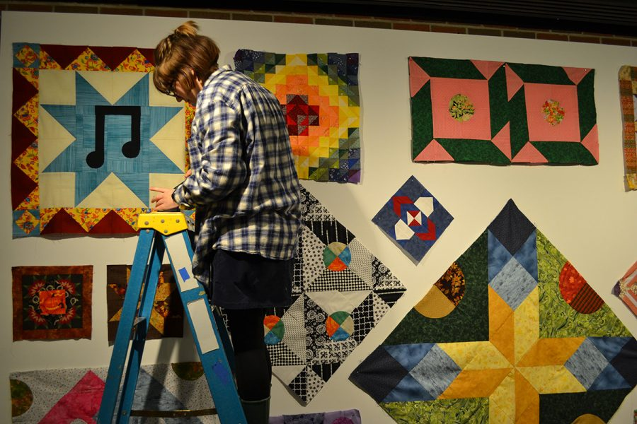 Madison Hoven, a junior communications student, helped set up the