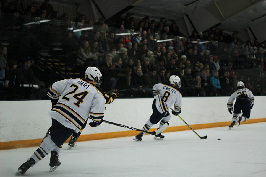 Center Colton Wolter, a senior, (pictured) had a solid weekend for UW-Eau Claire scoring his seventh goal of the season.