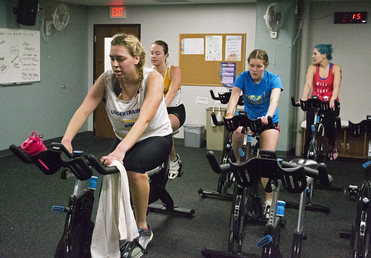 The triathlon consisted of a 500-yard swim, an eight-mile stationary bike and a two-mile run.