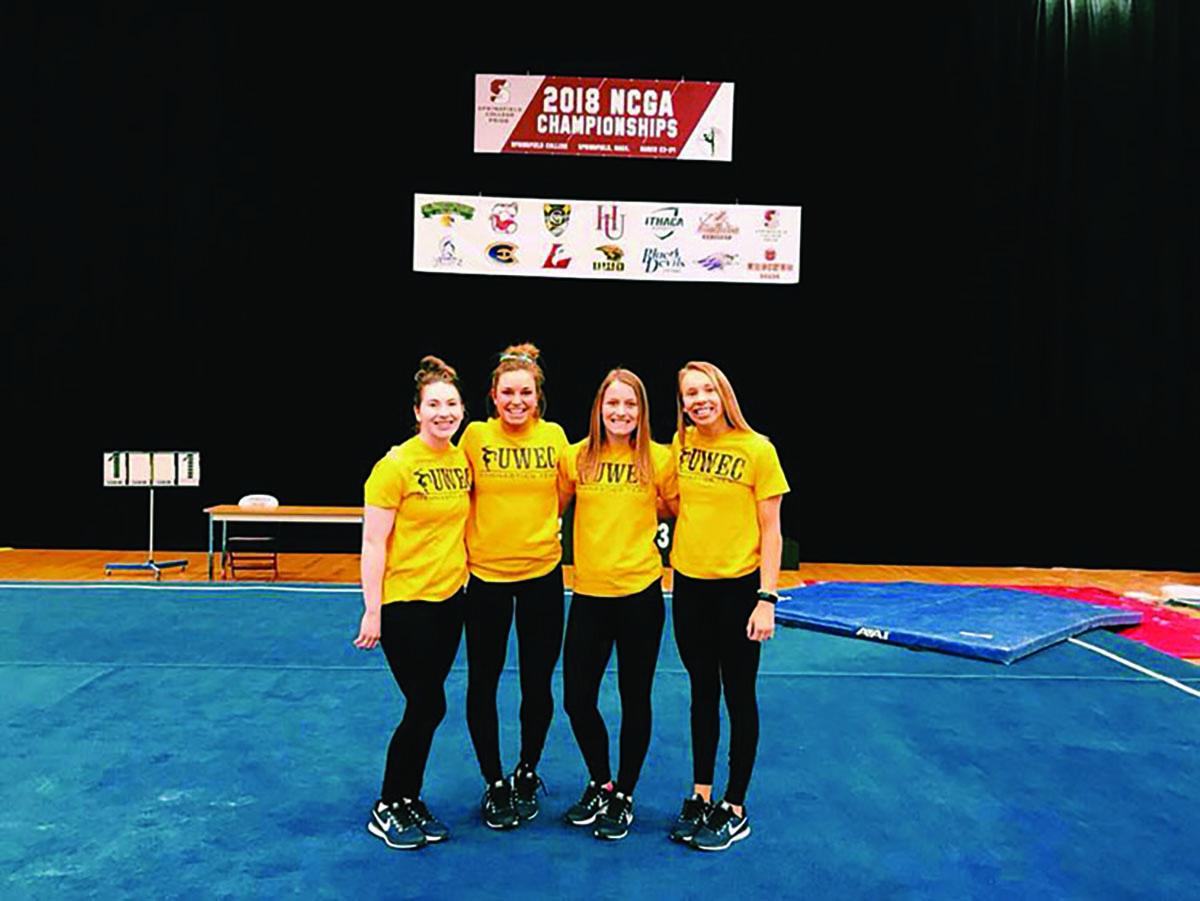 Blugolds gymnasts Tori Erickson, Hannah Lewis, Ashley Benes and Megan Fayler qualified for nationals.
