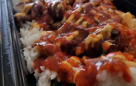 "The new chicken teriyaki ""bowl"" with sriracha sauce added."