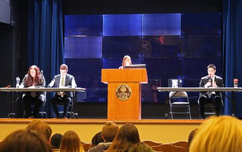 The Yates-Forrest and Nguyen-Salzman teams answered a set of questions during a president debate on Wednesday. The candidates are vying for the positions of the UW-Eau Claire student body president and vice president.