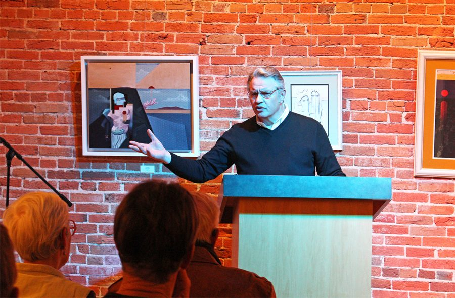 Local+author+Rick+Pendergast+read+from+his+book+%E2%80%9CStoney+Lonesome+Road%E2%80%9D+and+spoke+with+audience+members+afterward.+