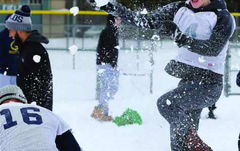 After multiple cancelled practices due to the inclement weather, the Blugolds decided to embrace the snow with some fun.