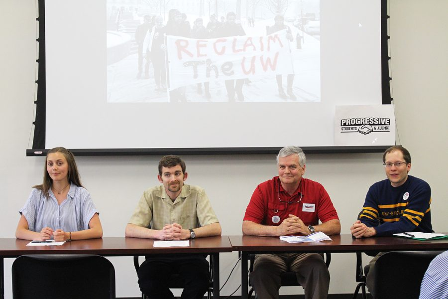 From left to right: Hillary Smith, the chief of staff for Student Senate; Peter Hart-Brinson, associate professor of sociology; Jeff Smith, organizer for Citizen Action Organizing Cooperative of Western Wisconsin; and Jeremy Gragert, city councilman for District 3.