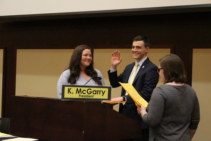Branden Yates and Maddie Forrest took the oath of office at Monday's Student Senate meeting.