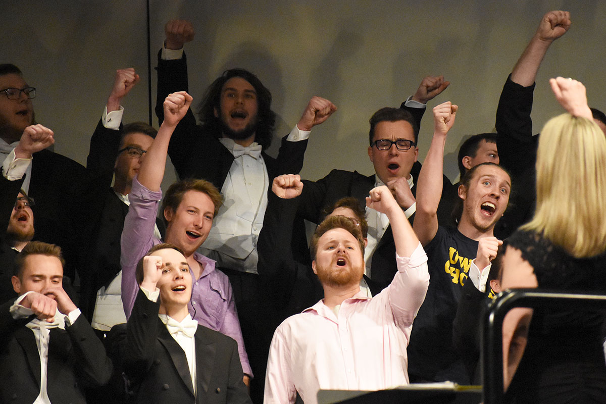 The Singing Statesmen invited alumni members to join them in performing a number of songs on stage at their concert Friday.