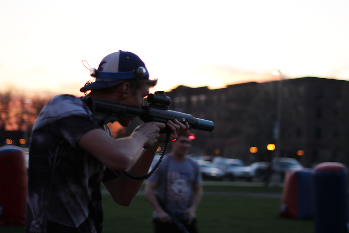 Students de-stressed before finals by enjoying a night of outdoor laser tag set to music from Star Wars.