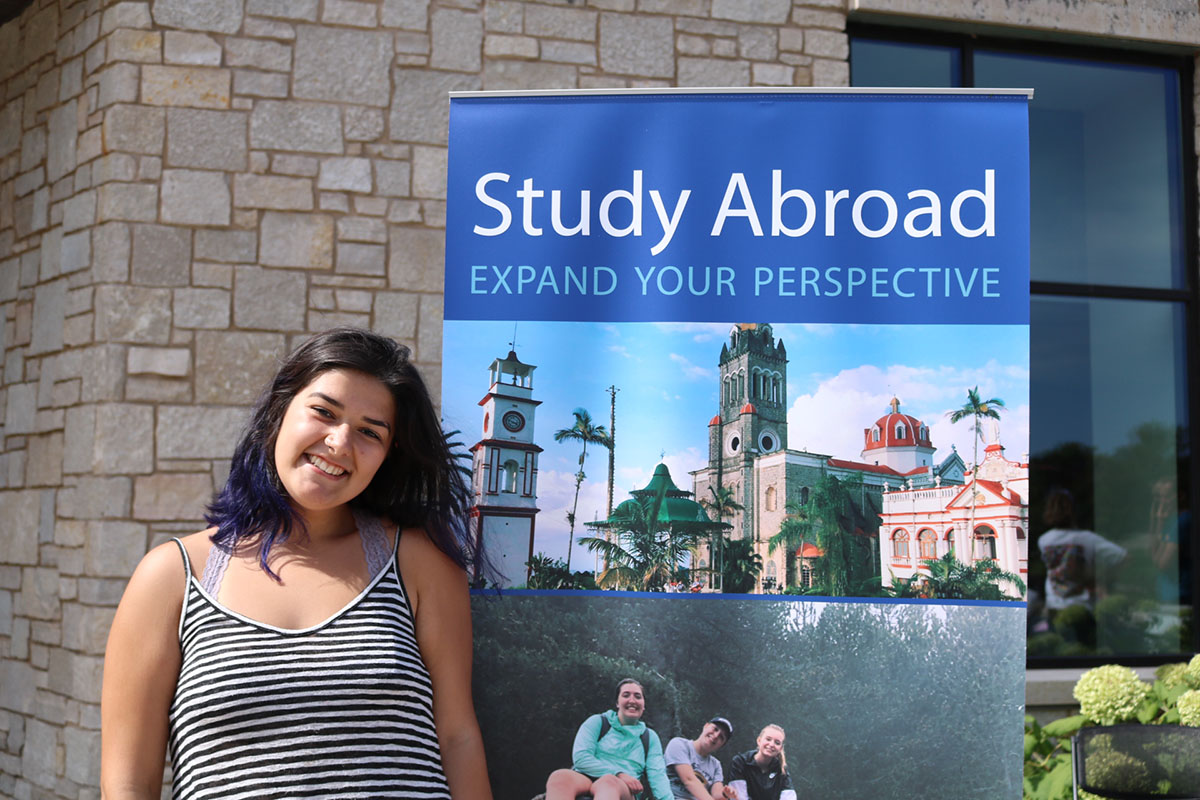 Stephanie Hoeksema helped dish out ice cream and information to students interested in the opportunity to study abroad, a program that is popular for many UW-Eau Claire Students.