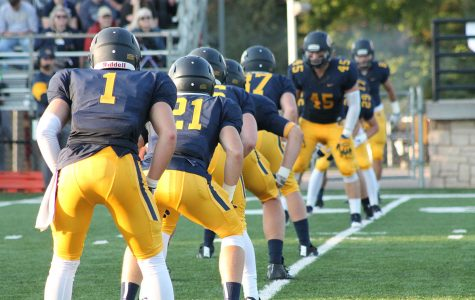 UW-Eau Claire celebrates another victory by the football team