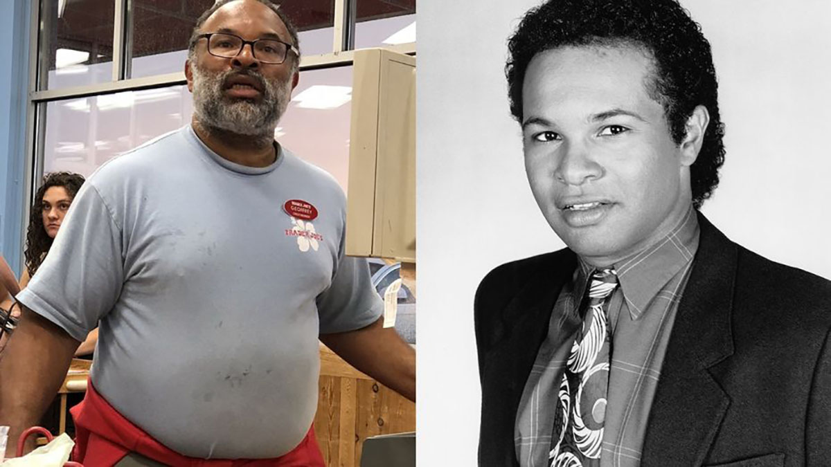 Known for his role on 'The Cosby Show' (right), Geoffrey Owens went viral over a photo of him bagging groceries at Trader Joe's (left) was taken and posted online.