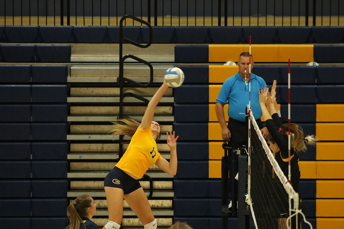 Madelyn Pashibin, a fourth-year biology student, delivers a spike against Gustavus.