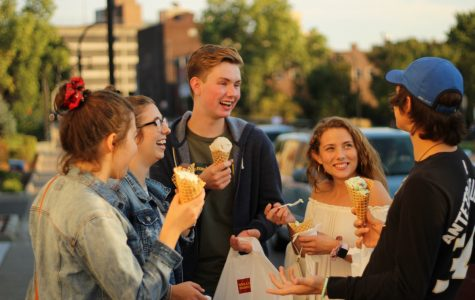 UW-Eau Claire students enjoyed their downtown experience by trying out Eau Claire's popular ice cream joint, Ramone's Ice Cream Parlor.