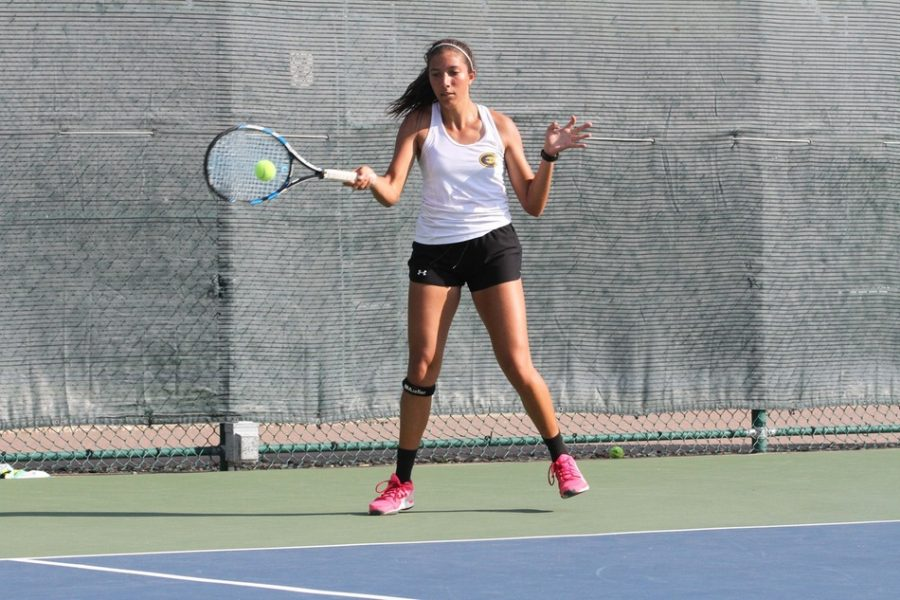 Blugold women's tennis competed this past weekend at the ITA Regional & Gustavus Invite. Natalie Wijesinghe, pictured, takes a swing.