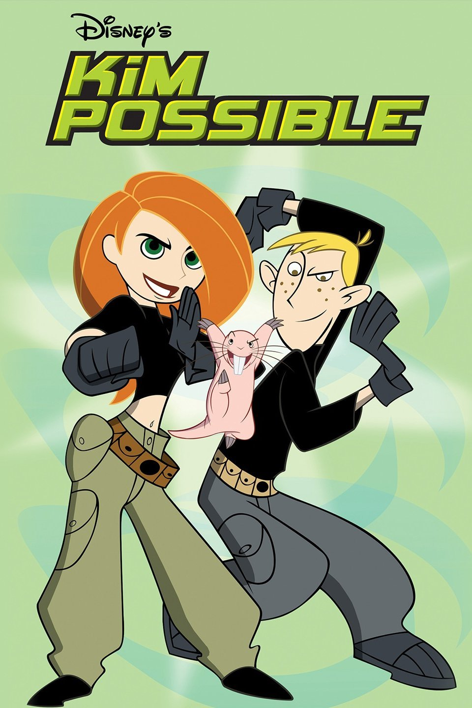Kim Possible, Ron Stoppable, and Rufus about to fight the bad guys.