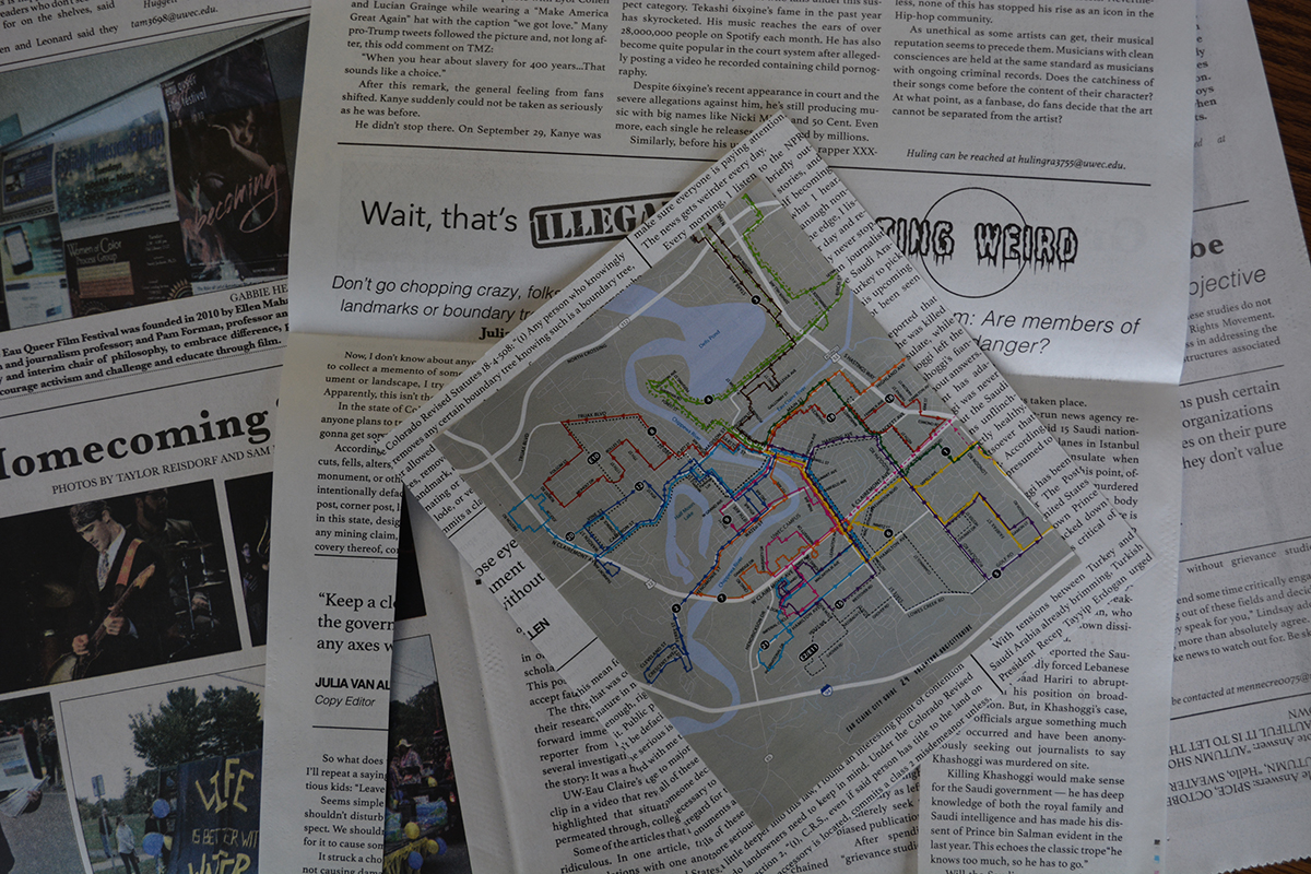 I+cut+out+a+map+of+the+Eau+Claire+city+busses+from+an+Eau+Claire+magazine+and+then+added+some+newsprint+from+The+Spectator+onto+the+back+of+it.+Do+you+notice+the+articles+from+our+very+own+Copy+Editor+and+Op%2FEd+Editor%3F+Check+them+out+in+last+week%E2%80%99s+print%21+