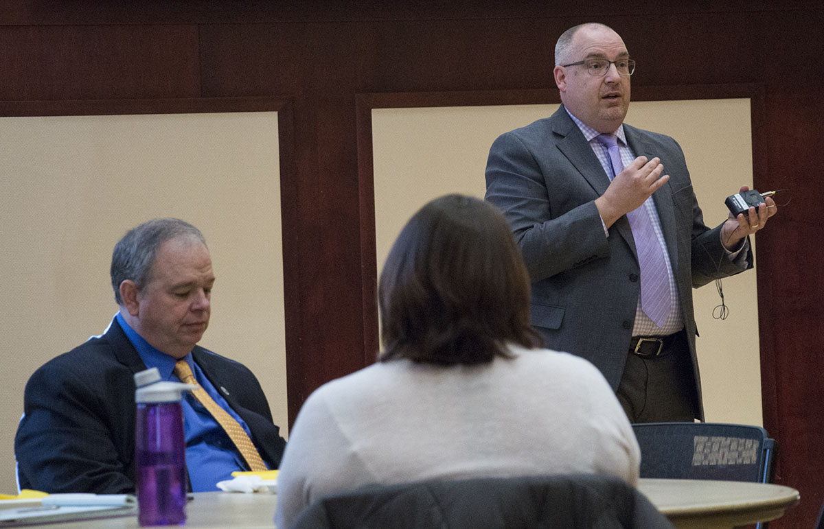 Director of Housing and Residence Life  Quincey Chapman responds to student inquiry during the Chancellor's Roundtable on Wednesday. The meeting was an open forum for discussion about accessibility on UW-Eau Claire's campus.