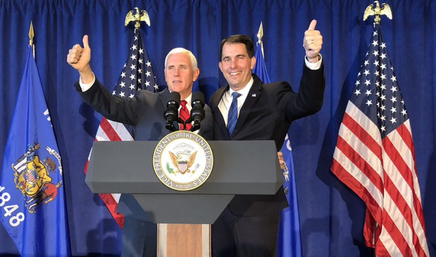 Vice+President+Mike+Pence+and+Governor+Scott+Walker+campaigning+in+Green+Bay+Wednesday.