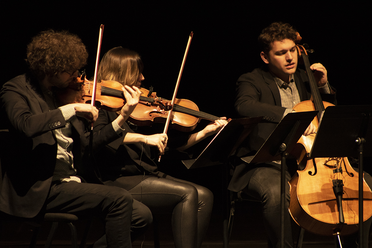 The ensemble musicians deliver a powerful performance on Sunday in Haas Fine Arts Center.
