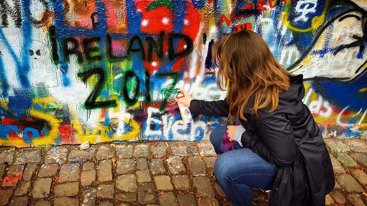 Spray+painting+my+second+home%27s+name+onto+the+John+Lennon+Wall+in+Praque%2C+Czech+Republic.