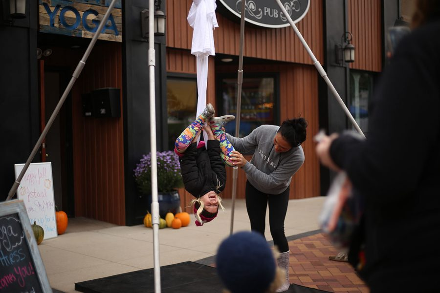 Sky Yoga was one of the many business booths lining Barstow Street at this year's Fall Festival.