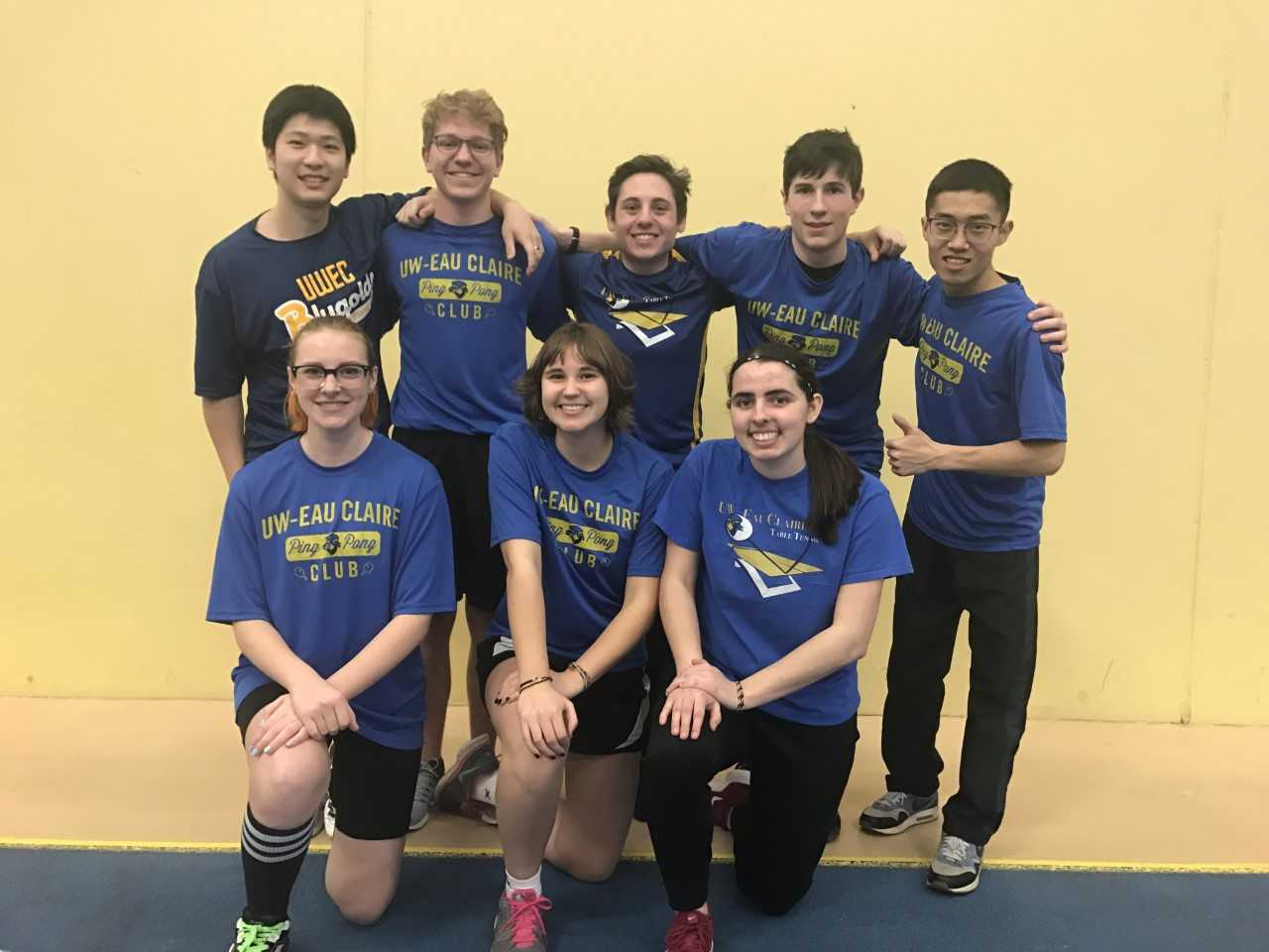 In this picture of last year's Table Tennis Club, Taylor Luecke, the president of the club, is the furthest right in the first row, and Mel Rausch, the vice president of the club, is the second furthest right in the first row.