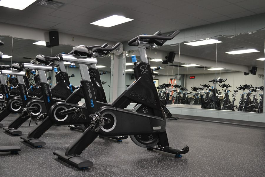 In this photo from The Spectator's files, the stationary bikes in the Hilltop Center's cycling studio wait to be used. The cycling studio, along with the multi-purpose group exercise room next door, were built last year.