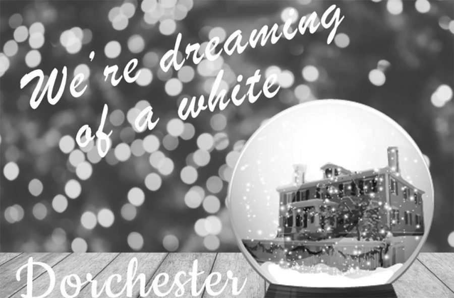 "The Dorchester Historical Society's greeting card, which originally read ""Dreaming of a white Christmas,"" was later changed to ""May your Dorchester days be merry and bright."""