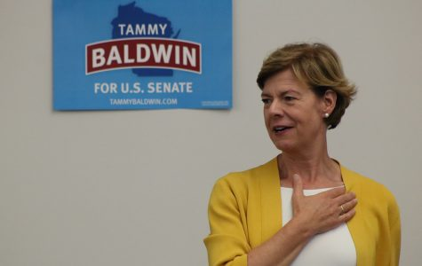 Senator Tammy Baldwin visits UW-Eau Claire's campus to share her ideas and gain support for the upcoming election.