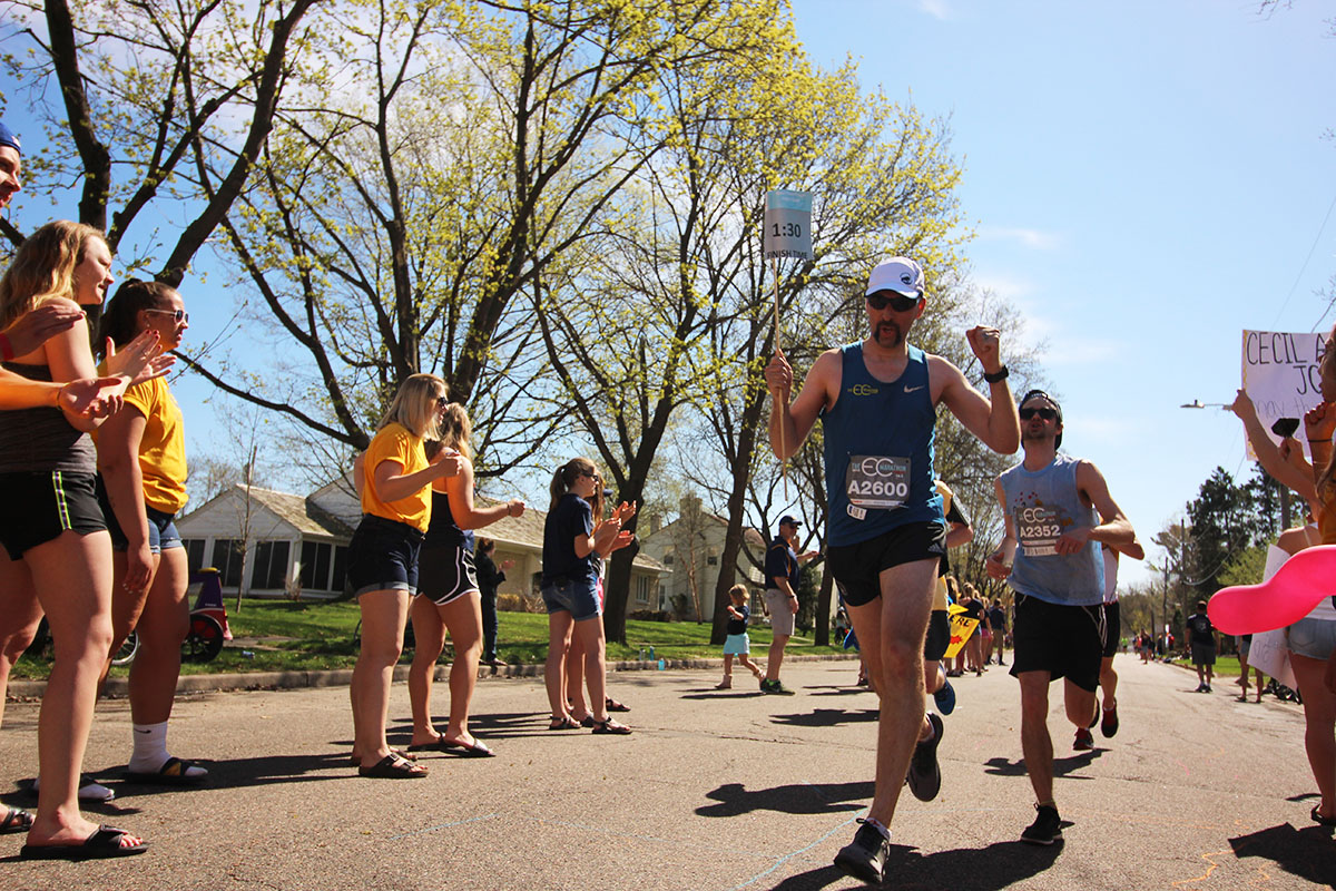 In this picture from staff files, a marathon pacer passes through the Blugold Mile during last spring's Eau Claire Marathon.