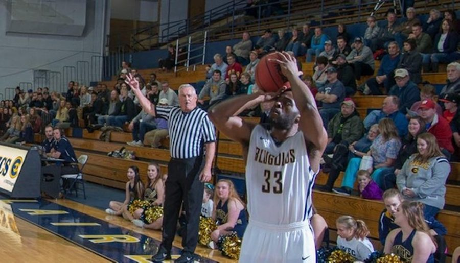 Wilyam Wright, a fourth-year, takes a shot during a home game at Zorn Arena. This photo is from a previous game and was published on Blugolds.com.