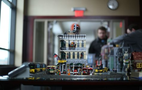 Legos were presented in the alumni room with a number of castles, characters and machines.