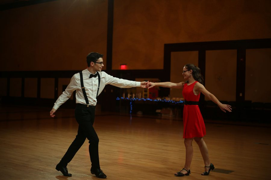 On Saturday, Dec. 1, Two to Tango presented their annual Swing Fling Dance where jazz music and a band followed along with the dancing. Pictured are Sean Hupfauf and Leah Motzko.