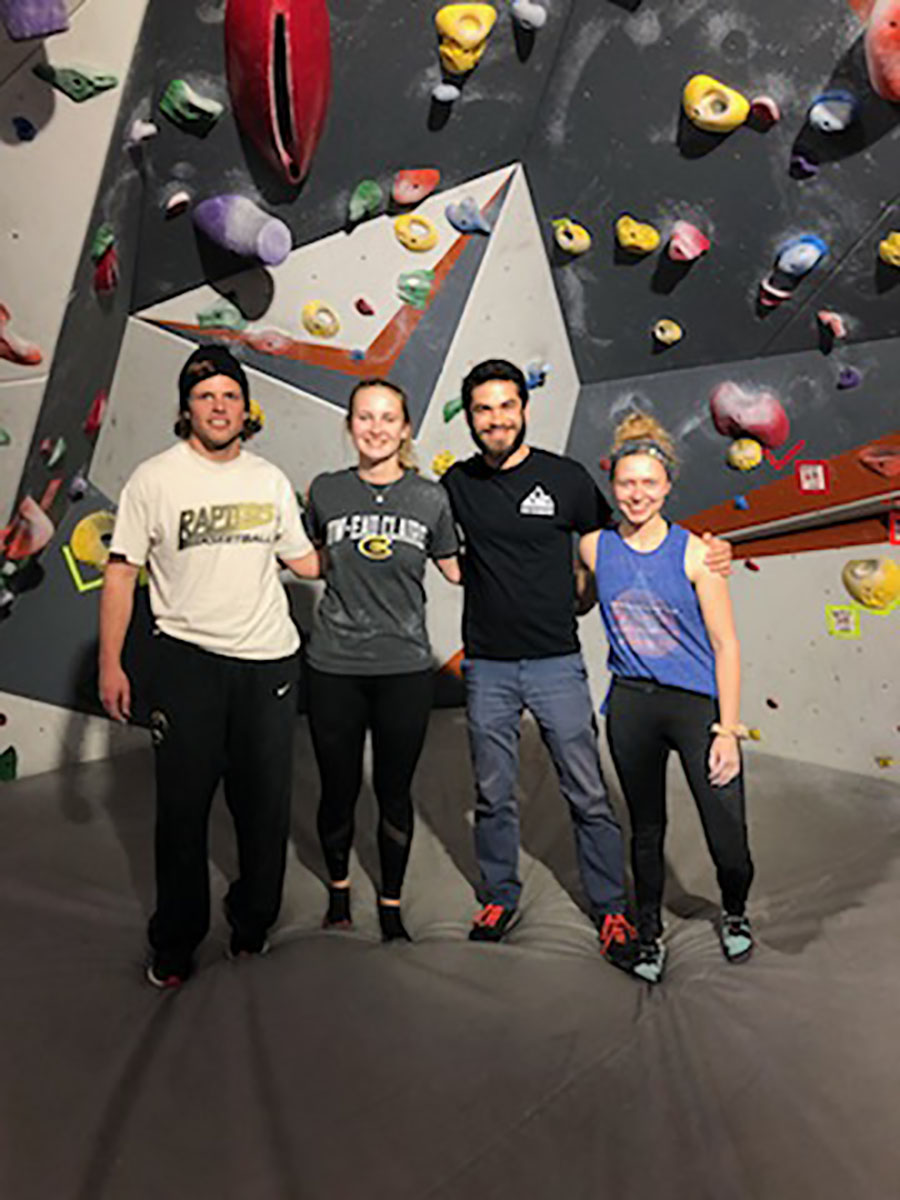 Members of Eau Climbers Executive Board - (From Left to Right) Kevin Siemers (Coach), Austin Perkins (President), Julie Wopat (Vice President), Maggie Israel (Social Media)