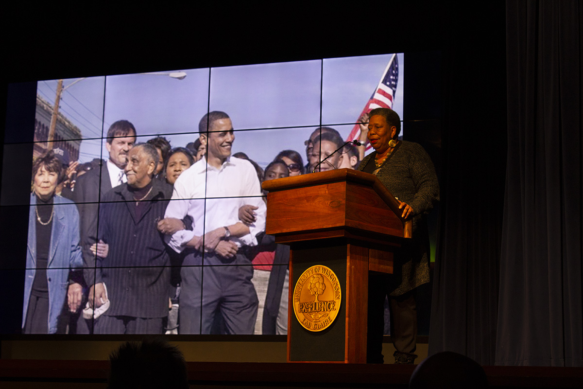 Joanne Bland, the keynote speaker at the Martin Luther King Jr. event last Wednesday, discussed her participation in the Student Non-Violent Coordinating Committee in the 1960s, among other topics.