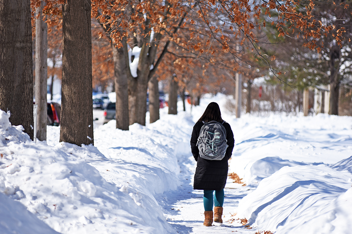 Eau Claire has been hit with record-setting amounts of snow so far this month, but the university has yet to cancel a full day of classes as a result.