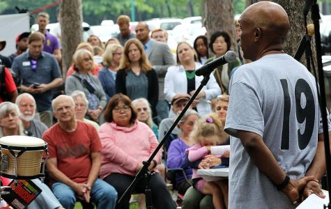 Juneteenth organizer Berlye Middleton addresses the crowd at the celebration last June. Photo courtesy of the Leader-Telegram.