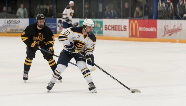Andrew+McGlynn%2C+a+first-year+forward%2C+scored+the+first+goal+for+the+Blugolds+against+Stevens+Point.