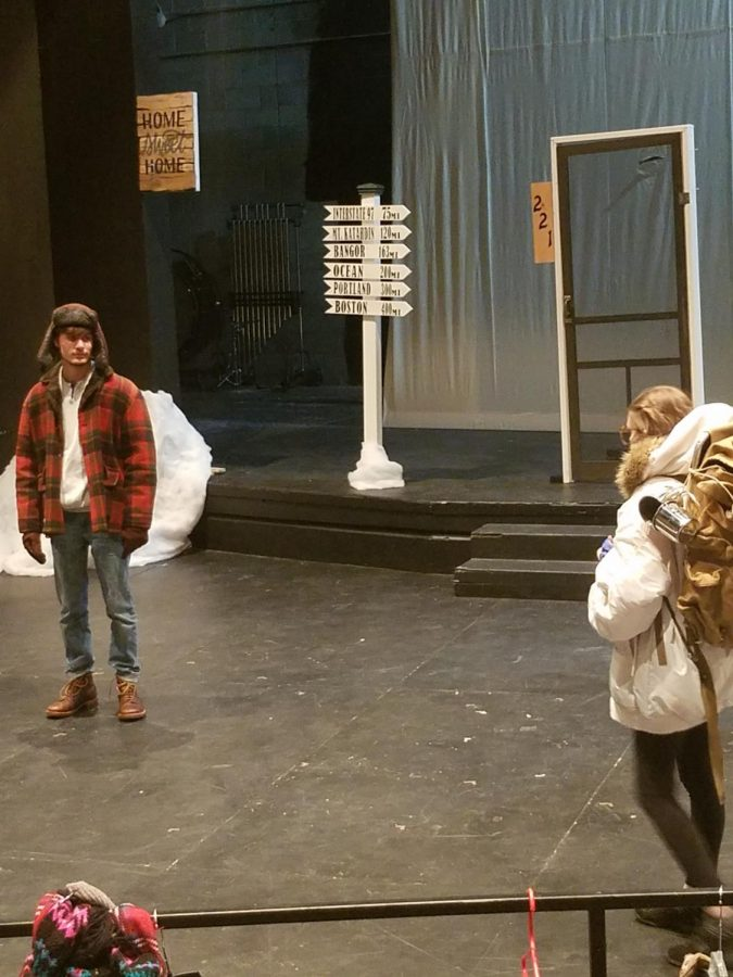 """Actors rehearsing for this week's performances of """"Almost, Maine."""""""