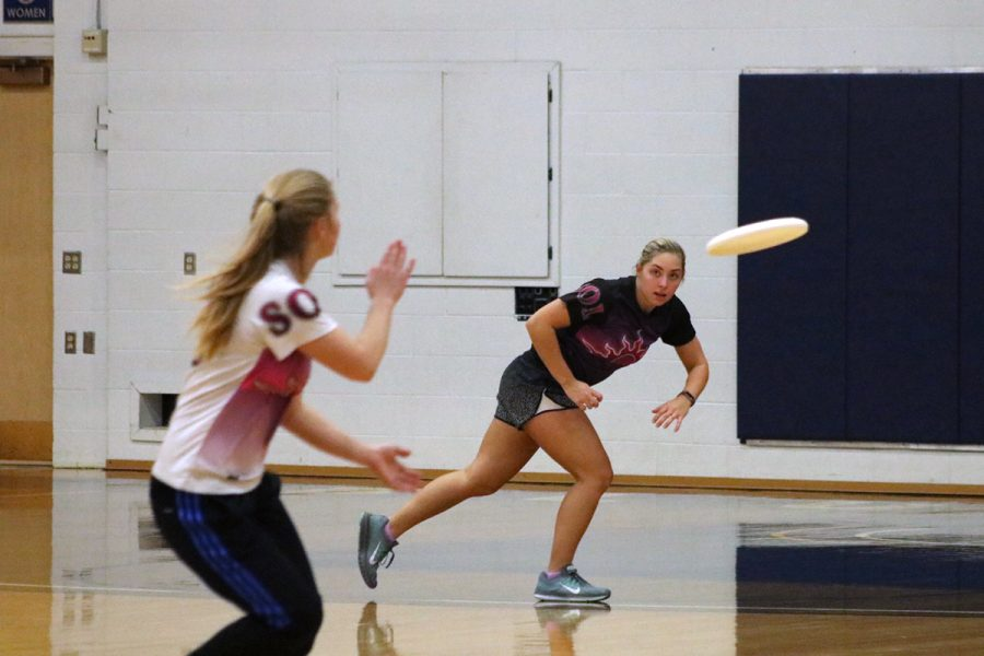 SOL, the UW-Eau Claire women's ultimate frisbee team, practices and competes indoors during the winter.
