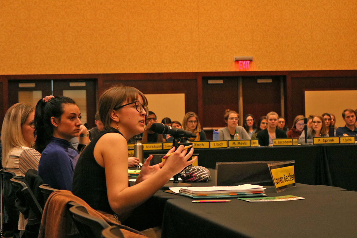 Senator Lauren Becker offers her thoughts after a presentation by City Council Member Kate Beaton.