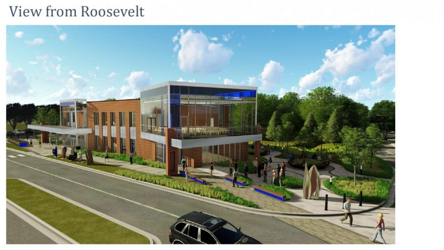A rendering of the new Welcome Center sitting along Roosevelt Avenue.