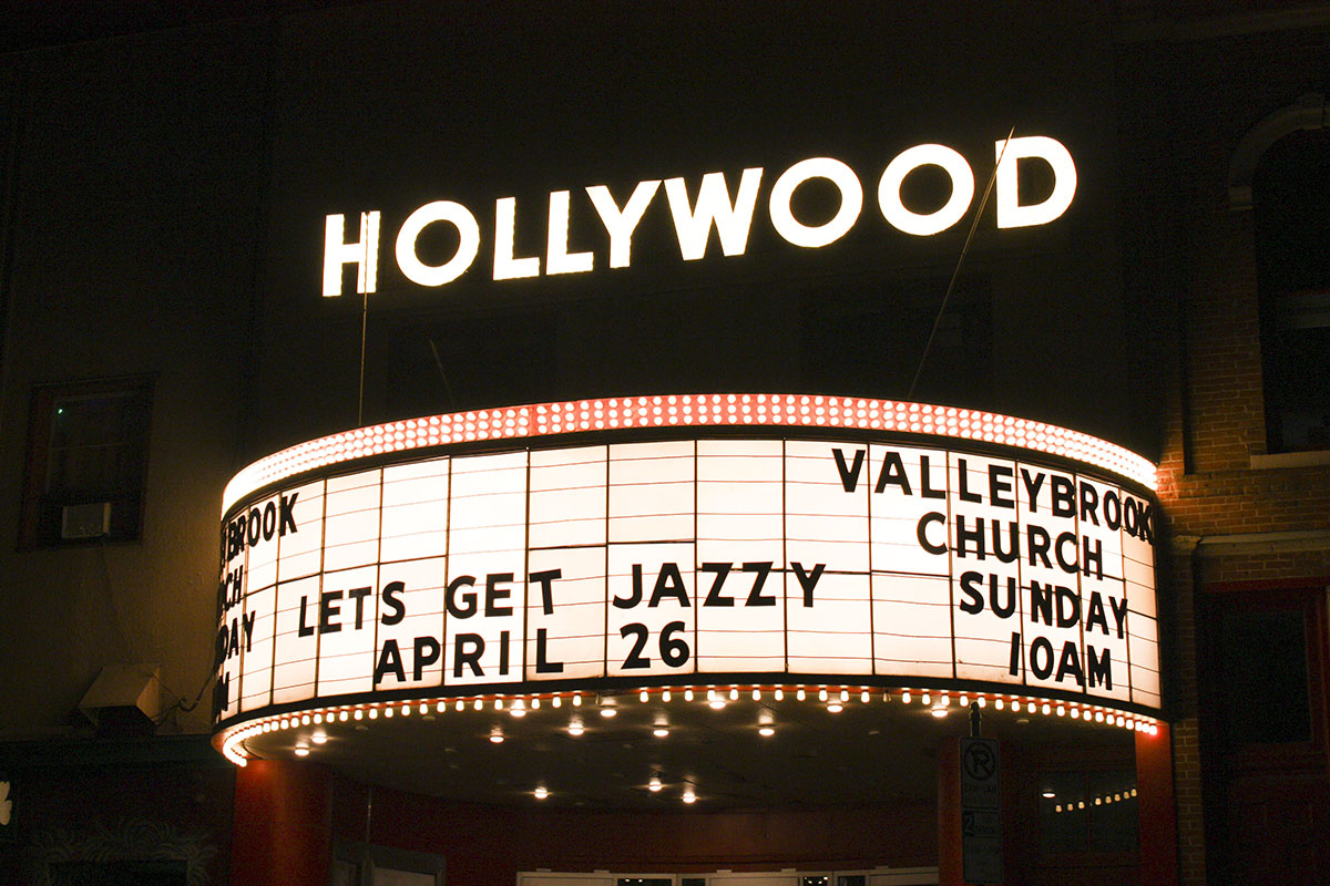 Valleybrook Church's sign for Jazz Fest lit up the night.
