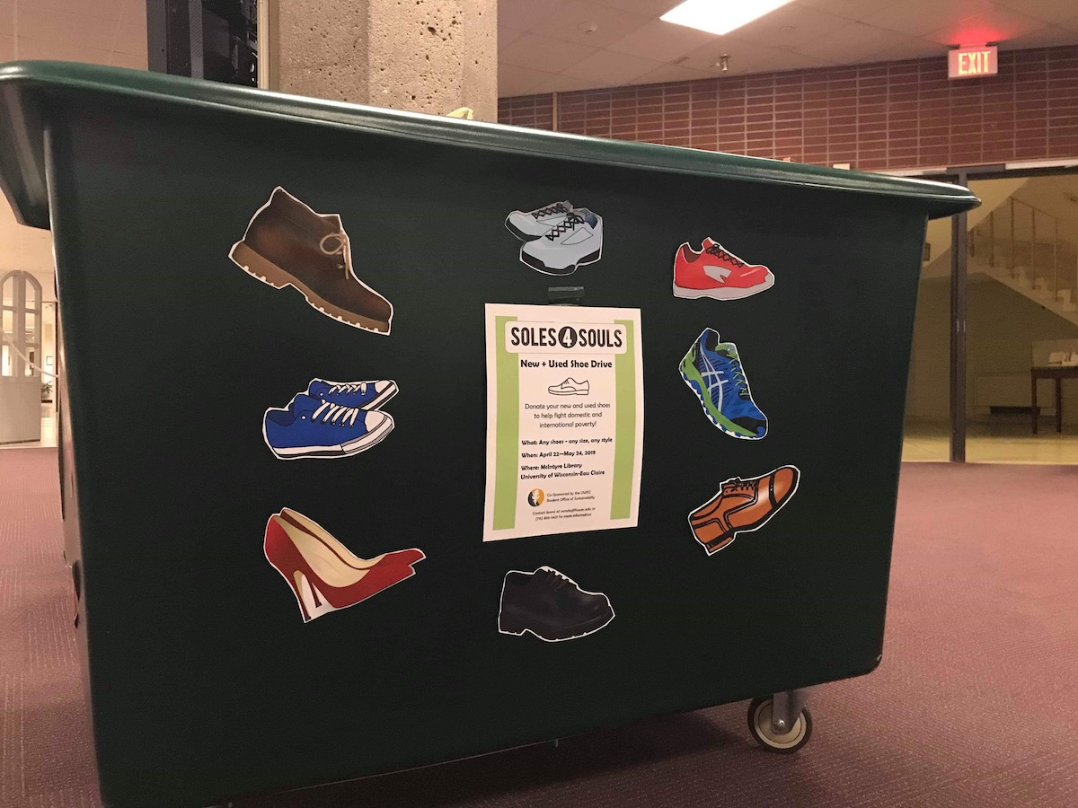 Unwanted shoes can be brought to the Soles4Souls donation bin in the McIntyre Library.