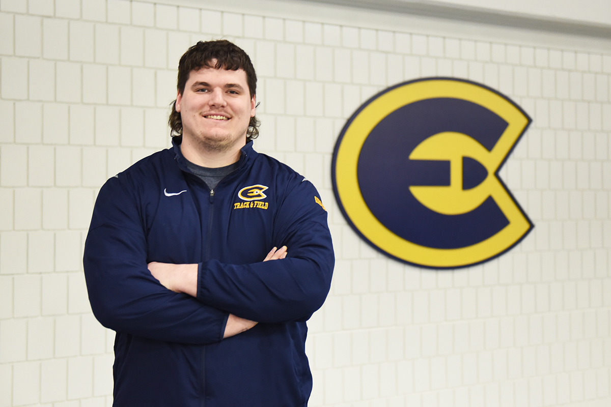 David Kornack, national champion in shot put and national field athlete of the year, poses for a photo.